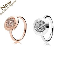 Wholesale 925 sterling silver rose gold plated - Real Silver Pave Cubic Zircon Rings With Cz Luxury Jewelry Silver Ring New Original Brand Logo Rose Gold Silver Women fit pandora