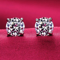Wholesale 925 Silver Rose Stud Earrings - 925 Sterling Silver Forever Rose & Clear CZ Round Circle Stud Earrings For Women Fashion Jewelry