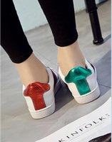 Wholesale Hard Cock - 2017 New Womens Fashion White Leather Luxury tiger Cock Love Flower Embroidered Flat Casual Shoes Lady Red Green Shoes White sneakers 35-40