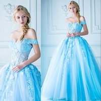 Wholesale Ligth Blue - Ligth Sky Blue Prom Dresses Sexy See Through Off Shoulder Sleeveless Appliques Fairy Party Dresses 2017 Cheap Custom Made Evening Dresses