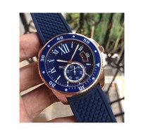 2017 New Caliber Diver Blue Dial And Rubber Band Montre Automatique Homme Homme WGCA0010 18k Rose Gold Mens Montres