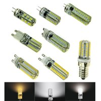 Wholesale G4 7w Cob Led - Dimmable LED G4 G9 E14 Lamp Corn Light Bulbs 24 48 64 72 x SMD 3014 12V 110 220V