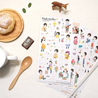 Wholesale korean diary stickers - Wholesale- 6 Pcs   Pack Heeda Second Quarter Of The Forest Department Sweet Girl Korean Girl Diary Pvc Decorative Stickers