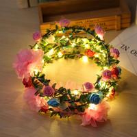 glühende lichtrosen großhandel-Art- und Weisefrauen LED-Rosen-Blumenstirnband-glühendes blinkendes Licht-oben Blumen-Haar-Girlanden-Kranz-Partei-Hochzeits-Versorgungsmaterialien ZA3497