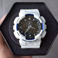 Wholesale Led Modern - Men's Hot Sale Sport Watch 2017 New Stainless Steel Back LED g Style Shock Watch Digital Analog Waterproof Wristwatch With Metal Box GA100