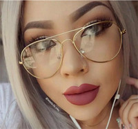 Wholesale Vintage Optic Glass - Classic Clear lens Women Men Mirror Sunglasses Brand Designer Fashion Optics transparent Eyeglasses Sun Glasses Vintage Cheap