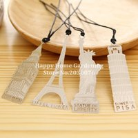 Wholesale Hollow Books - Wholesale-1Pcs New Gold Plated Hollow Building Bookmarks Book Magazine Accessories