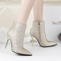 Wholesale Gold Sequin Boots Women - Fashion Woman Shoes Sequins Cloth Zipper Martin Boots Metal High Heels Ankle Boot Pointed Toe Winter Short Bota Feminina Black Gold Sliver