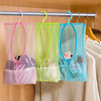 Wholesale Wholesale Mesh Cosmetic Organizer - Wholesale- Multi-function Space Saving Hanging Mesh Bags Clothes Organizer for Bedroom New cosmetic Bag