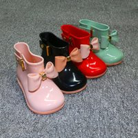 INS Baby Girls Rainshoes Impermeable Galoches Niños Zapatos Casual Princesa Bowknot Rain Boots Cartoon Solid Boutique