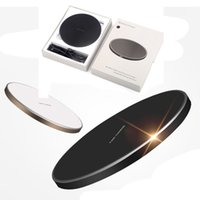Wholesale Thin Qi Charger - GY-68 Wireless Charger For Galaxy S8 S7 S6 Ultra Thin Qi Fast Charger With Metal Edge Qi Wireless charger Pad OTH684