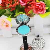 Wholesale Potpourri Free Shipping - Hot selling Aromatherapy Home Car Essential Oil Diffuser Locket Clip with 6PCS Washable Felt Pads free shipping