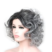 Wholesale Wig Gray Short - Short wigs for black women ombre black gray wigs heat resistant synthetic fiber wig 40 cm curly wig synthetic hair