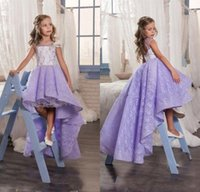 Wholesale Lavender Flower Girl Baby Dresses - 2017 Lavender Lace High Low Flower Girls Dresses For Weddings Crew Backless Kids Girl Pageant Gowns Baby Prom Party Dress Custom Made