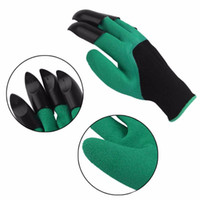 Wholesale Latex Work Gloves Wholesale - Pair of Rubber Polyester Builders Garden Glove Work Latex Gloves 4 ABS Plastic Claws High Quality Light Bule and Green Color A436