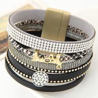 Wholesale Good Luck Bracelets For Women - Wholesale-Black Bohemian Leather Bracelets For Women Good Luck Charm Bracelets Pulseras Mujer Brazaletes Vintage Jewelry