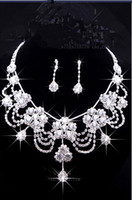 Wholesale Style Fashion Pierced Earrings - 2016 Luxury Wedding Jewellery Sets Beaded Bridal Accessories Necklace Earrings Accessories Two Pieces Cheap Fashion Style Hot