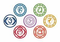 vinil duvar etiketleri yoga toptan satış-19X19 CM 7 adet / takım Çakralar Vinil Duvar Çıkartmaları Mandala Yoga Om Meditasyon Sembol Duvar Çıkartmaları Ev Dekorasyon Yoga Renkli Res ...