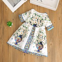 Wholesale Short Vases - Children autumn 2017 new dresses girls vase floral printed Palace style dress children short sleeve vintage style dress kids clothes G0118