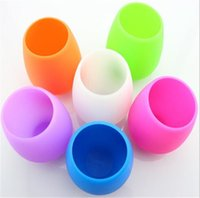Wholesale Eco Premium - Silicone Wine Glasses Unbreakable Premium Food Grade Stemless Drinking Cups Dishwasher Cafe Recyclable Rubber Wine Glasses Drinkware