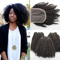 Wholesale 4a Hair - 4x4 Kinky Curly Lace Closure With Bundles 4a,4b,4c Afro Kinky Human Hair Extensions No Shedding G-EASY