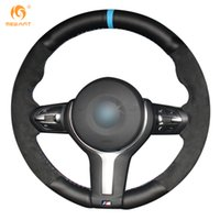 Wholesale M3 Steering Wheels - Mewant Black Genuine Leather Black Suede Car Steering Wheel Cover for BMW F33 428i 2015 F30 320d 328i 330i 2016 M3 M4 2014-2016