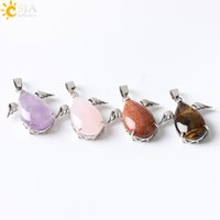CSJA Fashion Little Angel Wings Natural Amethyst Pink Quartz Gem Stone Pingentes para colares Mulheres Turquoise Opal Jewelry E227