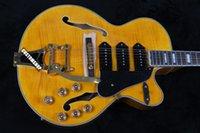 Wholesale Es Custom Guitar - Custom Shop Switch Master Huge Hollow Body Yellow Honey Flame Maple Top bigsb Bridge ES Electric Guitar 3 P-90 Pickups Gold Hardware