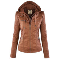 Wholesale Zipper Pu Leather Women Jacket - Women Jackets Female Faux Leather Jacket Long Sleeve Hat Removable Basic Coats Waterproof Windproof Winter Women's Clothing