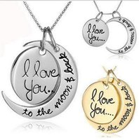 Wholesale Love Couple Accessories - The Moon Charm And Back Necklace Lobster Clasp Couple Pendant Necklaces 2016 Hot 2 Styles I Love You To Fashion Accessories