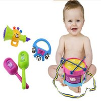 Wholesale Toy Musical Instruments Band Kit - 5pcs Lot Roll Drum Musical Instruments Band Kit Kids Children Toy Gift Set New