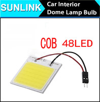 NUEVO Blanco 48 SMD COB LED T10 4W 12V Car Panel Luz Interior Room Dome Puerta Blanca Bulb Adaptador DC 12V Lámparas