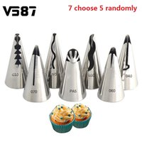 Wholesale Ceramic Cook Set - Wholesale- 5Pcs set Icing Piping Nozzles Stainless Steel Russian Tulip Cake Decoration Tips Cooking Tools Cupcake Cream Pastry Decor