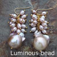 Wholesale Rice Earrings - FC102914 White Purple Keshi Pearl Rice Pearl Gold Plated Hook Earrings