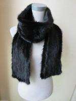 Wholesale Knitted Mink Scarves - XL# Elegant Men's Real Mink fur knitted scarf (Black)