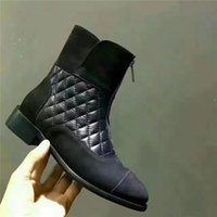 Wholesale Quilted Boots - New 2017 Genuine Leather Quilted Ankle Boots Brand Designer European Martin Boots Zip Up Motorcycle Booties Shoes Fashion European Shoes A28