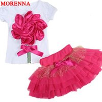 Wholesale Young Girls Clothing - MORENNA Infants and young children Girl in summer clothes suit A flower T-shirt + tutu skirt 2 pieces set