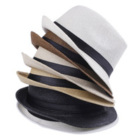 Wholesale green straw hat online - Cheap Vogue Men Women Hat Kids Children Straw Hats Cap Soft Fedora Panama Belt Hats Outdoor Stingy Brim Caps Spring Summer Beach