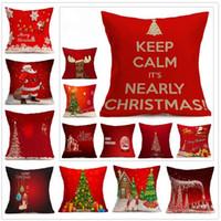 almohada de navidad al por mayor-48 Diseños Funda de Almohada de Navidad Funda de Almohada de Navidad Reno Elk Throw Cushion Cover Árbol Sofá Nap Funda de Almohada Decorativa CCA7140 50pcs