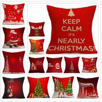 ingrosso design cuscini decorativi-48 Disegni Federa di Natale Caso Xmas Copertura del Cuscino Renna Elk Throw Cuscino Albero Divano Nap Cuscino Decorativo Caso CCA7140 50 pz