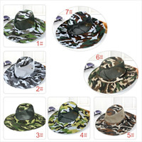 Wholesale military netting - 2017 new camouflage sun net shade military hat breathable fishing hat man outdoor wide edge fisherman hat man Mo12