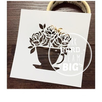 Wholesale Cups Stencil - Drawing stencils Masking template For Scrapbooking,cardmaking,painting,DIY cards- The rose cup 063