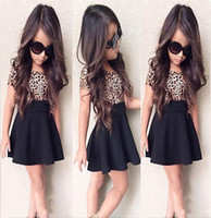 Wholesale Casual Kids Leopard Dresses - Wholesale- hot sale 2015 new arrival Baby Girls Kid Leopard Short Sleeve T-shirt Top Short Dress Outfit 1-6Year