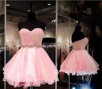 Wholesale Cute Simple Prom Dresses - Cute Light Pink Sweetheart Mini Evening Dresses Sash Modern Evening Prom Dresses Birthday Party Gowns Cheap Free Shipping