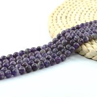 Wholesale Amethyst 15 - Natural Amethyst Quartz Synthetic Gemstone Round Loose Beads For Jewelry Making 4 6 8 10mm Full Strand 15 inch Semi Precious Stone L0071#