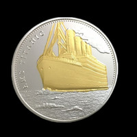 Wholesale Bi Plates - 1 pcs The Voyage of Titanic Ship Remember Bi metal Silver Gold Plated Jack Rose Love Story Souvenir Coin