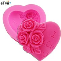 Wholesale Silicone Cake Mould Heart - Wholesale- ETYA I Love U Rose Flower Heart Shape 3D Silicone Cake Mold Chocolate Mould Fondant Decorating Soap Maker Tools kitchen Utensil