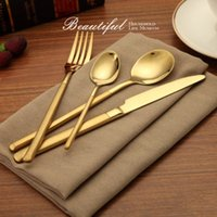Wholesale Gift Service - Tableware Stainless Steel Dishware Steak Knife Fork Scoop Dinnerware Four Piece Suit Dinner Service High End Gifts With Gilt 13 5rc H1 R