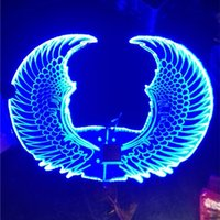 Wholesale Large Wings Costume - OISK Adult Man Christmas Flashing LED Large Colorful Wings Costume,Dancing dress accessories, Party show performance Costume