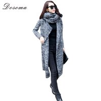 Wholesale Thick Sweater Scarves - Wholesale-Dosoma Women Long Cardigans Sweaters With Scarf Casual Loose knitting-clothes Coat Autumn and Winter 2016